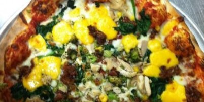 Wisconsin- Green and Gold Pizza at Wild Tomato